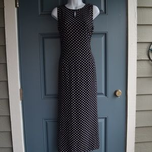 *Black/White Polka Dot Maxi Dress/Liz Claiborne